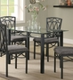 Coaster Glass Top Dining Room Table w/ Dark Metal Finish