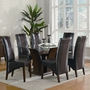 Coaster Rodeo Glass Top Dining Table in Cherry