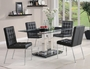 Coaster Rolien 5 Piece Black Glass Top Dining Table Set
