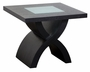 Diamond Sofa Square Crackled Glass End Table in Dark Walnut
