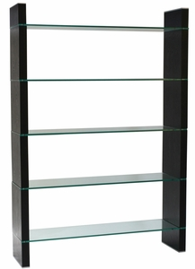 Diamond Sofa Dark Walnut Glass Bookcase/Room Divider