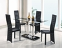 Global Furniture 5 Piece Glass Top Dining Table Set in Black