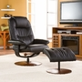 SEI Black Leather Recliner & Ottoman