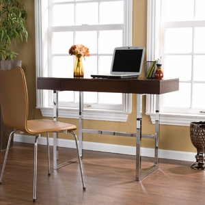 SEI Brooklyn Desk in Espresso & Chrome
