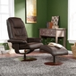 SEI Brown Leather Recliner & Ottoman