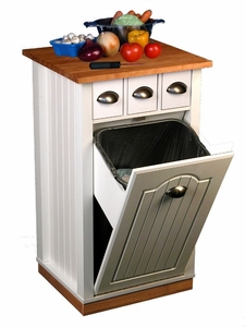 Venture Horizon Butcher Block Bin w/ Pantry- White