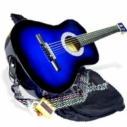 38 Navy Blue Acoustic Guitar Starter Package, Guitar, Gig Bag, Strap, Pitch Pipe & DirectlyCheap(TM) Translucent Blue Medium Guitar Pick (AC38-DB) [Teacher Approved] - Click to enlarge