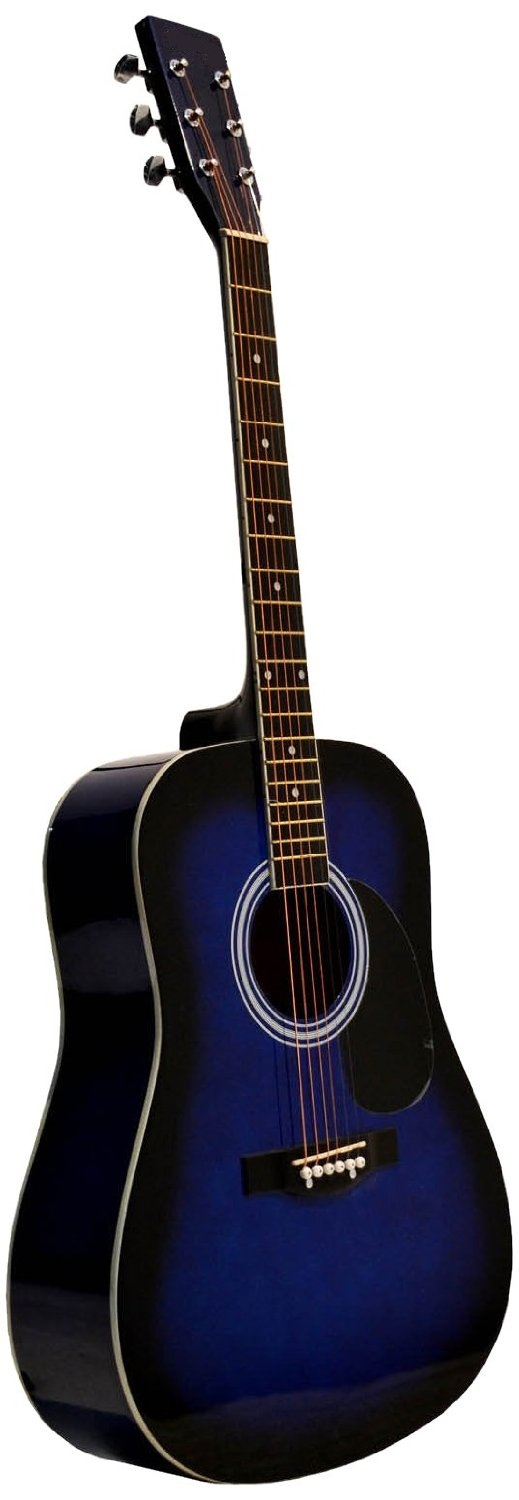 41 Inch Blue Burst Handcrafted Steel String Acoustic Guitar