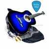 "38"" BLUE Acoustic Guitar Starter Package, Guitar, Gig Bag, Strap, Pitch Pipe & DirectlyCheap(TM) Translucent Blue Medium Guitar Pick (BU-AG38)"
