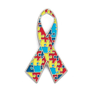Autism Awareness Ribbon Puzzle Lapel Pin