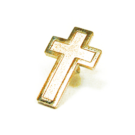 Christian Cross Lapel Pin Gold