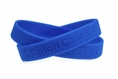 """Colon Cancer Awareness"" Blue Rubber Bracelet Wristband - Adult 8"""