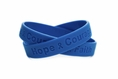 """Hope Courage Faith""  Blue Rubber Bracelet Wristband - Youth 7"""