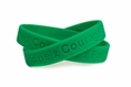 """Hope Courage Faith"" Green Rubber Bracelet Wristband - Adult 8"""