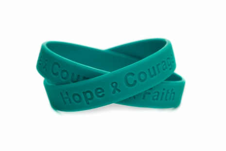 Hope Courage Faith Teal Wristband Ovarian Cancer