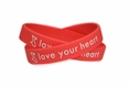 """love your heart"" Red Dress Rubber Bracelet Wristband - Adult 8"""