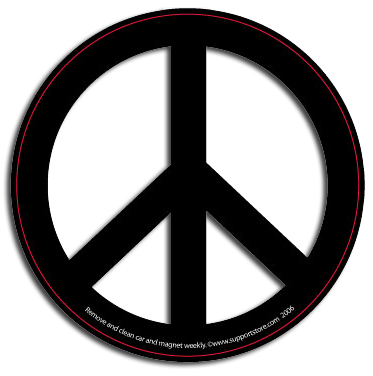 Peace Sign Car Magnet - Black & White