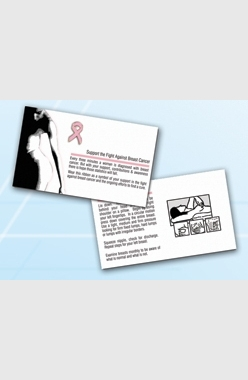 Pink Ribbon Lapel Pin with Breast Cancer Self Examination Card