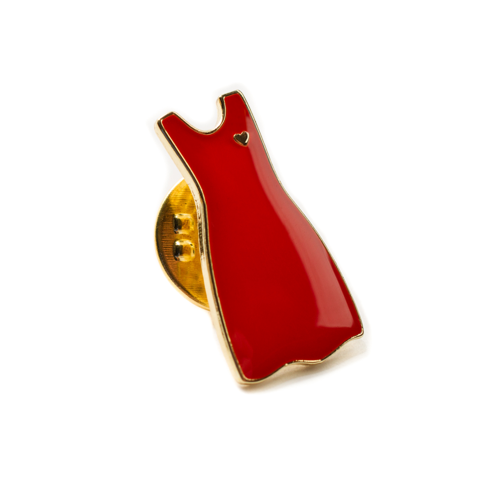 Woman's Red Dress Lapel Pin - Woman's Red Brooch with heart