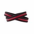 """Support Firefighters Wristband Black w. Red Line - Adult 8"""""""