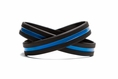 Support Law Enforcement Wristband Black w. Blue Line - Adult 8""