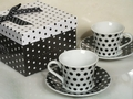 Black and White Polka Dot Espresso Coffee Cup Favors