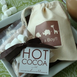 Hot Cocoa Favors with Personalized Baby Shower Silhouette Muslin Bag