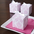 Light Pink Damask Cube Favor Box