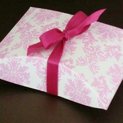 Light Pink Damask Pillow Favor Box