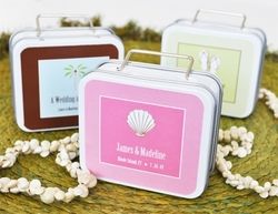 """Love to Travel"" Personalized Theme Suitcase Favor Tins"