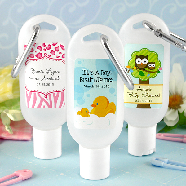 pics photos personalized hand sanitizer favours with carabiner