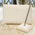 Starlight Collection Guest Book and Pen in Ivory