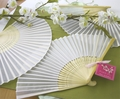 White Silk Wedding Fans