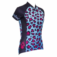 Leopard Spots Blue Women's Cycling Jersey