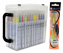 Zig Clean Color Real Brush 48 Color Collection w/ Case & Bonus Water Brush
