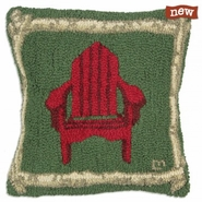 "Adirondack Birch Chair 18"" Hooked Wool Pillow"