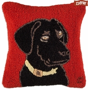 "AKC Black Lab 18"" Hooked Wool Pillow"