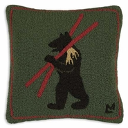 Alpine Bear Hooked Wool Pillow