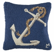 "Anchor 18"" Hooked Wool Pillow"
