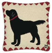 Angus Labrador Hooked Wool Pillow - 18""