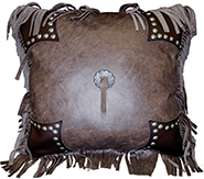 Azteca Brown Leather and Mesa Espresso Leather Pillow