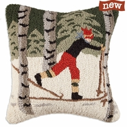 "Back Country Skier in Woods 18"" Hooked Wool Pillow"