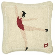 Ballet Practice Hooked Wool Pillow - 18""