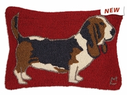 "Basset Hound 14"" X 20"" Hooked Wool Pillow"