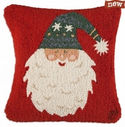 "Bearded Santa Hat 18"" Hooked Wool Pillow"