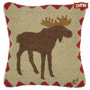 "Beige Moose 18"" Hooked Wool Pillow"