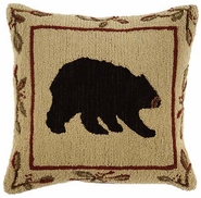 Black Bear Hooked Wool Pillow - 26 ""