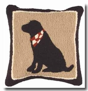 Black Lab Hooked Wool Pillow - 18""