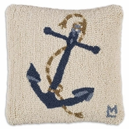 Blue Anchor on White Hooked Wool Pillow - 14""