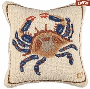 "Blue Crab 18"" Hooked Wool Pillow"